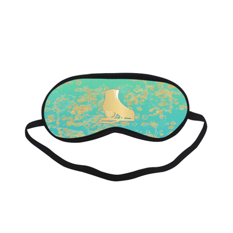 Sleep Mask-Gold Figure Skate on Mint Gradient with Gold Flakes Sleeping Mask