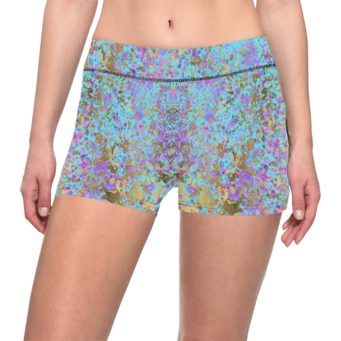 Bright Blue with Purple,Pink and Gold Splatter Paint Design Women's All Over Print Yoga Shorts