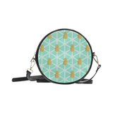 Tiffany Blue and Gold Pineapple -Round Sling Bag