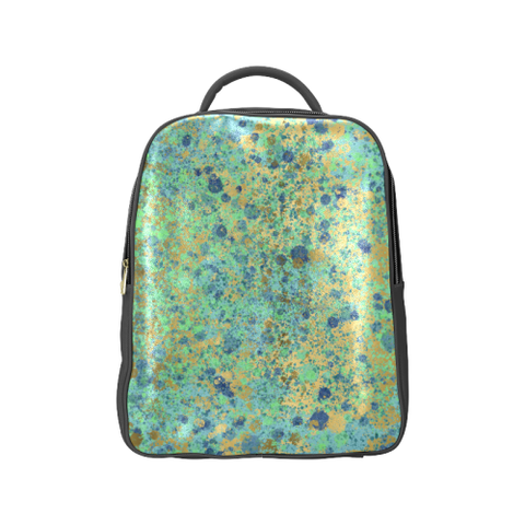 Women's Blues and Gold Patina Design Popular Backpack (Model 1622)