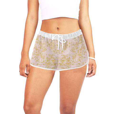 Women's Relaxed Shorts in Pale Pink and Gold Flake Print