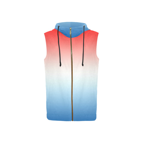 Gradient Red, White, and Blue All Over Print Sleeveless Zip Up Hoodie for Women