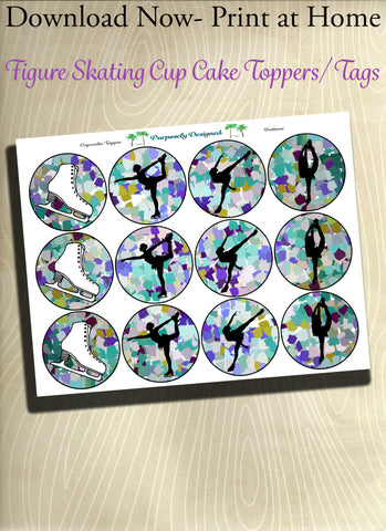 Figure Skating Silhouette Printable Party Tags - Cupcake Toppers - Printable Party Favors