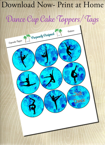 Dance Silhouette Printable Party Tags - Cupcake Toppers - Printable Party Favors