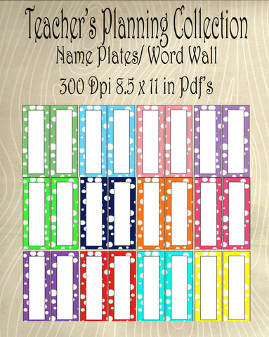 Word Wall/Student Name Plates-12 Colors in Lots of Dots Design -Instant Download