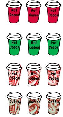 Christmas Red and Green To-Go Cocoa/Coffee Cup Sticker Set 2- Planner Sticker Sheet-DOWNLOAD