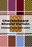Choose Your Custom Colors Checker Pattern Textured Fabric Shower Curtain-Seen Here in Tennessee Orange and Smokey Grey