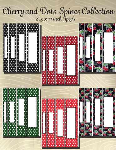 Cherry Mini Dot Collection Printable Binder Spine Pack Variety Size Pack-6 different Options Available  -Instant Download