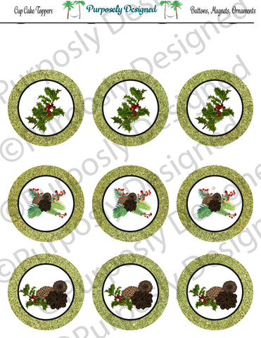 Pine and Berry Themed Holiday Toppers-Light Green Glitter- Printable  Cupcake Toppers - Printable Party Favors-Jpeg