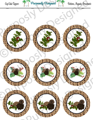 Pine and Berry Themed Holiday Toppers-Burlap- Printable  Cupcake Toppers - Printable Party Favors-Jpeg
