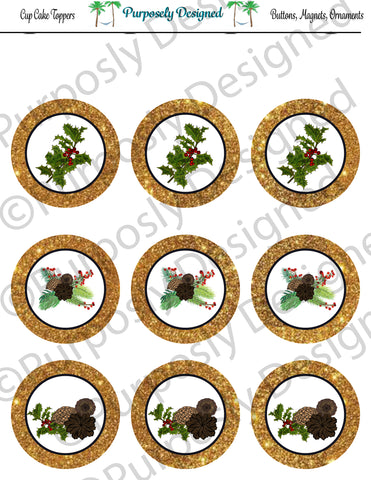Pine and Berry Themed Holiday Toppers-Gold Glitter- Printable  Cupcake Toppers - Printable Party Favors-Jpeg