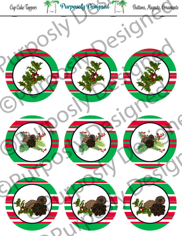 Pine and Berry Themed Holiday Toppers-Red, White, Green Stripes - Printable  Cupcake Toppers - Printable Party Favors-Jpeg