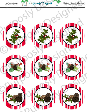 Pine and Berry Themed Holiday Toppers-Red and White Stripes - Printable  Cupcake Toppers - Printable Party Favors-Jpeg