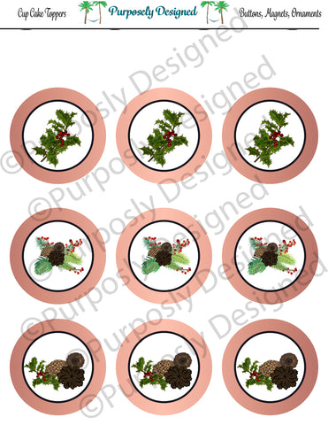 Pine and Berry Themed Holiday Toppers-Rose Gold Foil- Printable  Cupcake Toppers - Printable Party Favors-Jpeg