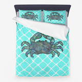 Kaleidoscope Crab in Blues and White Netting on Turquoise Background  - Minky Blankets