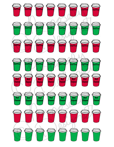 Christmas Red and Green To-Go Coffee Cup Sticker Set 1- Planner Sticker Sheet-DOWNLOAD
