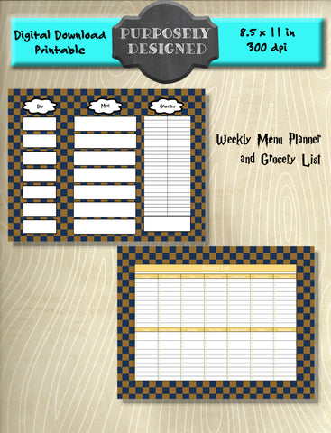 Harry Potter Inspired Ravenclaw Checker Pattern Weekly Menu Planner and Grocery List- Instant Download and Printable