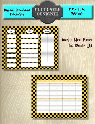 Harry Potter Inspired Hufflepuff Checker Pattern Weekly Menu Planner and Grocery List- Instant Download and Printable