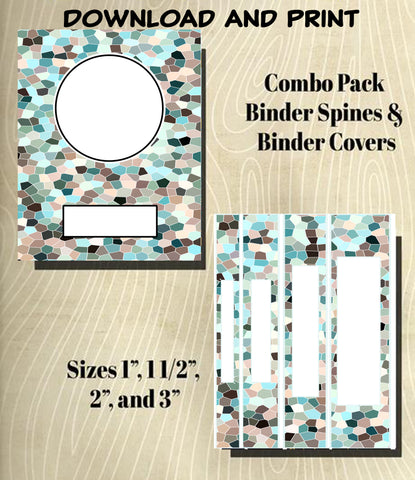 Mosaic Design in Mints and Grey's-Binder and Spine Collection**Not Editable**