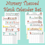 Blank Nursery Themed Calendar set Instant  Download- Printable PDF and Jpeg