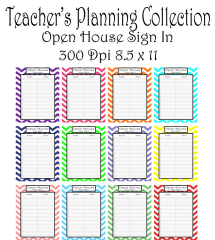 Open House Pack-Teacher Planning Collection- 12 different Colors -Instant Download