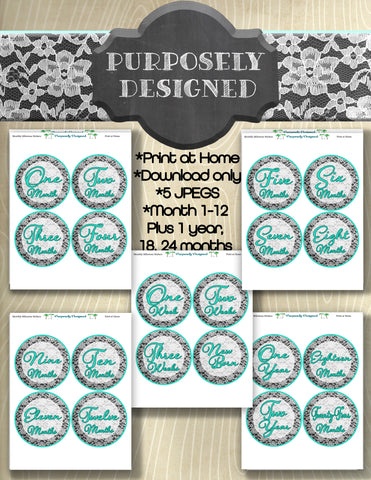 White Lace Design with Mint-First Year Monthly Baby Stickers, Baby Month Stickers, Milestone Stickers