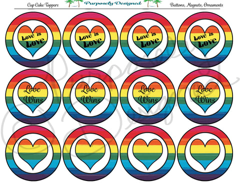 LGBT Pride Flag Love/Love Wins is Love Cupcake Toppers - Printable Party Favors
