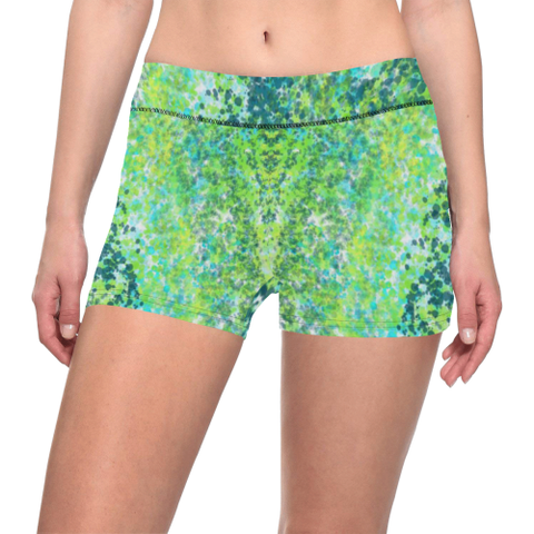 Teal, Lime, and Turquoise Splatter Paint Design Woman's All Over Print Yoga Shorts