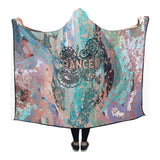 Dancer Doodle on Abstract Design with Rose Gold Hooded Blanket 80''x56''