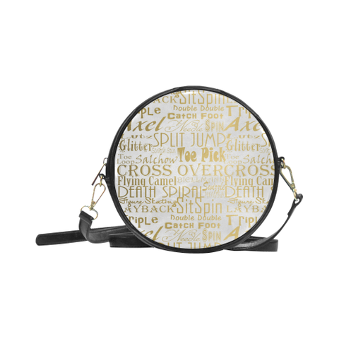 Figure Skating Gold Subway Style Print -Round Sling Bag