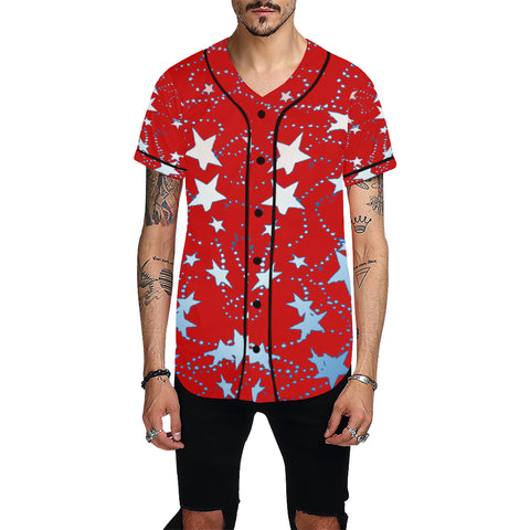 Red, Blue, and White Stars All Over Print Baseball Jersey for Men