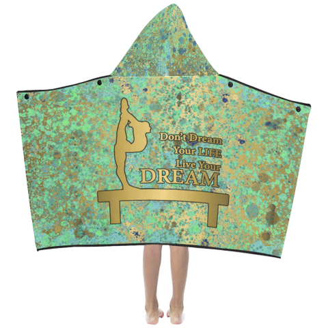 Blues and Gold Patina Design  Kids' Hooded Bath Towels