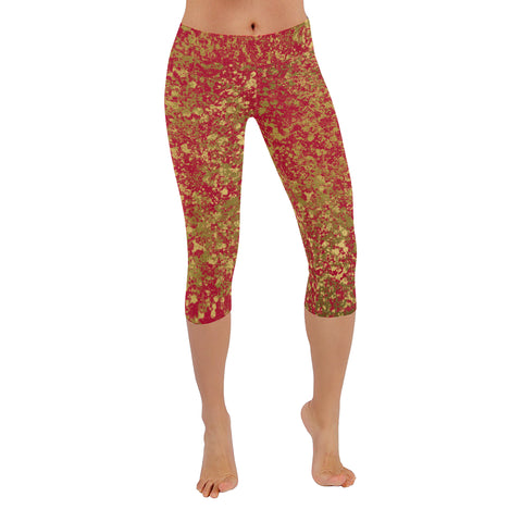 Red and Gold Patina Design 2 Low Rise Capri Leggings