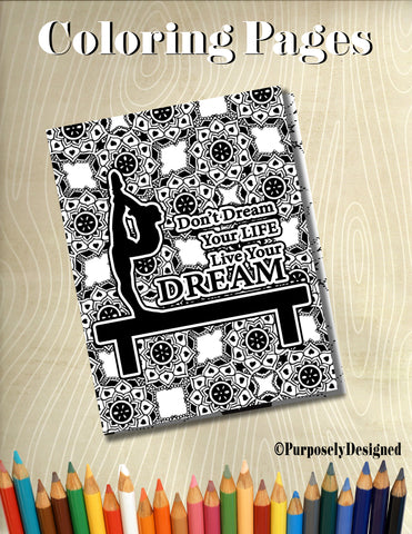 Gymnastics Live Your Dream-Beam Coloring Page