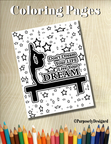 Gymnastics Dream Life Coloring Page with Stars Background