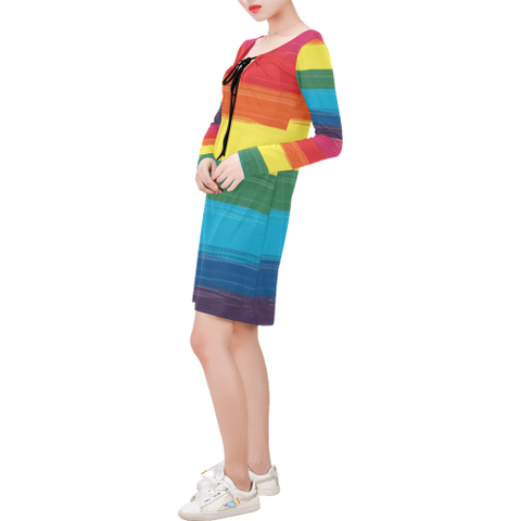 LGBTQ+ Pride Flag All Over Print Dress Long Sleeve String Tie Dress