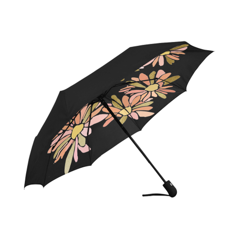 Daisies in Rose and Gold Design Underside Printed Automatic Umbrellas