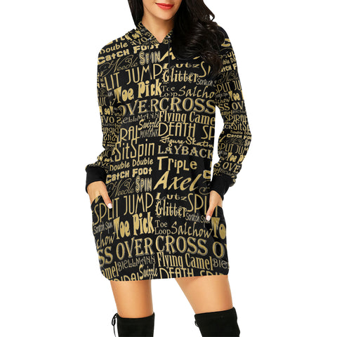 Figure Skating Subway Style Gold Design All Over Print Hoodie Mini Dress