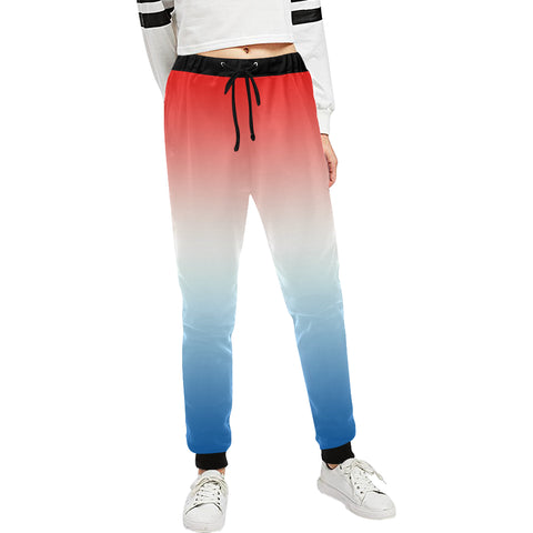 Gradient Red, White and Blue Women's All Over Print Sweatpants