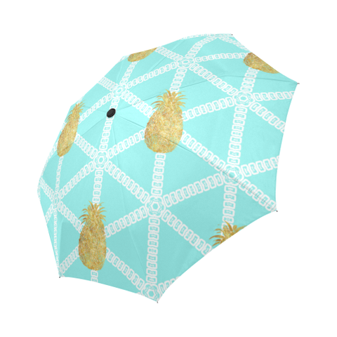 Tiffany Blue Gold Pineapples Automatic Umbrella Auto-Foldable Umbrella