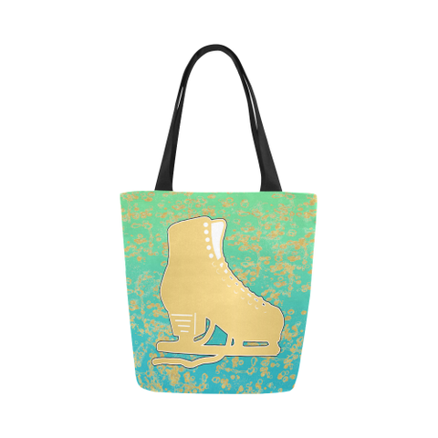 Figure Skating Tote Bag Gold Figure Skate on Mint Gradient with Gold Flakes Canvas Tote Bag