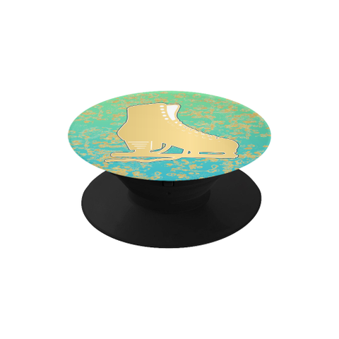 Gold Figure Skate on Mint Gradient with Gold Flakes- Phone Holder