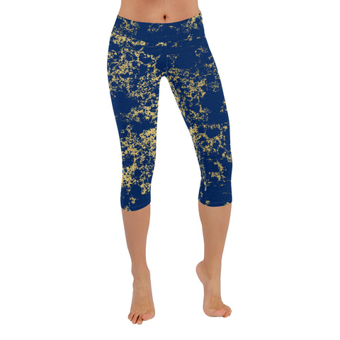 Navy and Gold Patina Design Low Rise Capri Leggings