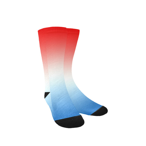 Red, White and Blue Gradient Custom Socks for Women