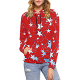 Red, Blue, and White Stars All Over Print Hoodie for Women