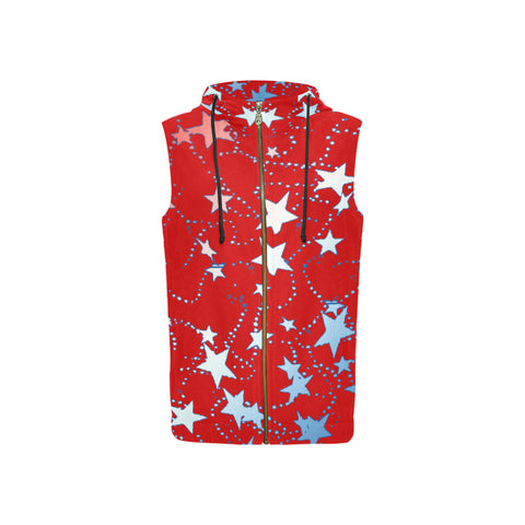 Red, Blue, and White Stars All Over Print Sleeveless Zip Up Hoodie for Women