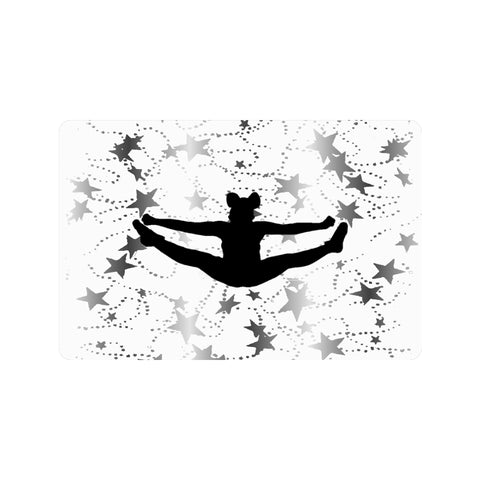 "Cheer Toe Touch on White with Silver Stars Indoor/Outdoor Doormat 23.6""x15.7"""