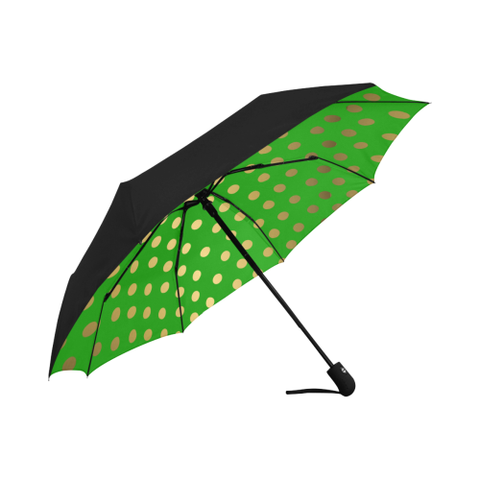Green and Gold Dot Design- Anti-UV Auto-Foldable Umbrella (Underside Printing)
