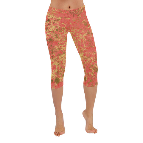 Coral and Gold Patina Design Low Rise Capri Leggings