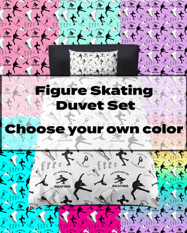 Figure Skating Life- Style 1- Black Silhouettes on White- Microfiber Duvet Cover with Pillow Sham(s)